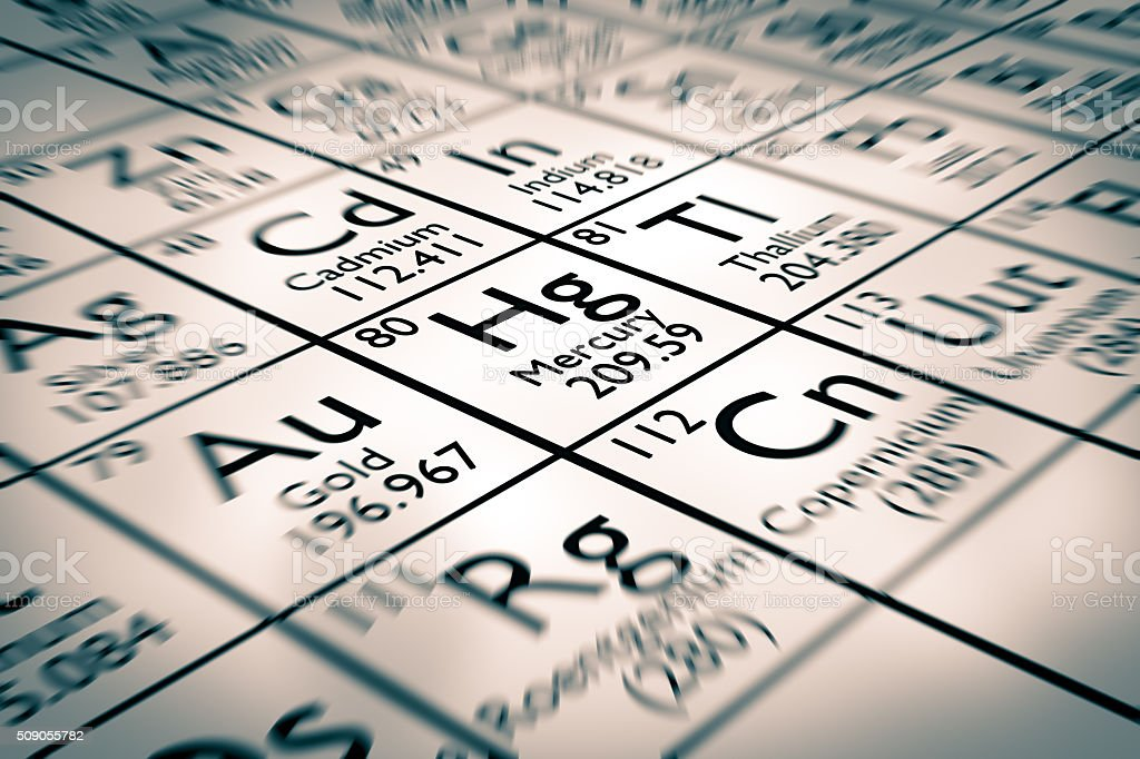 Focus on mercury chemical element stock photo