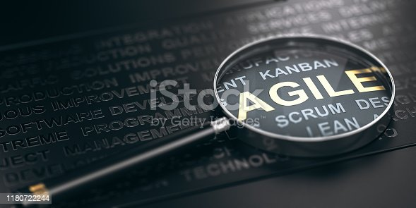 3D illustration of many words over black background and a magnifying glass with focus on the word agile.
