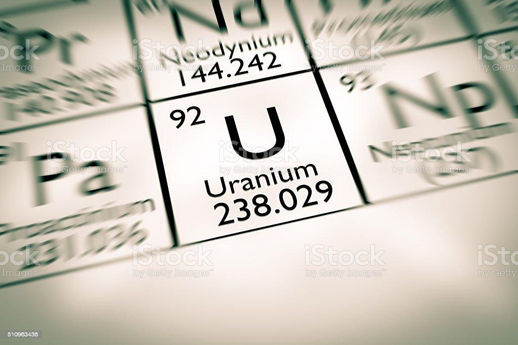 Focus on radioactive Uranium chemical element stock photo