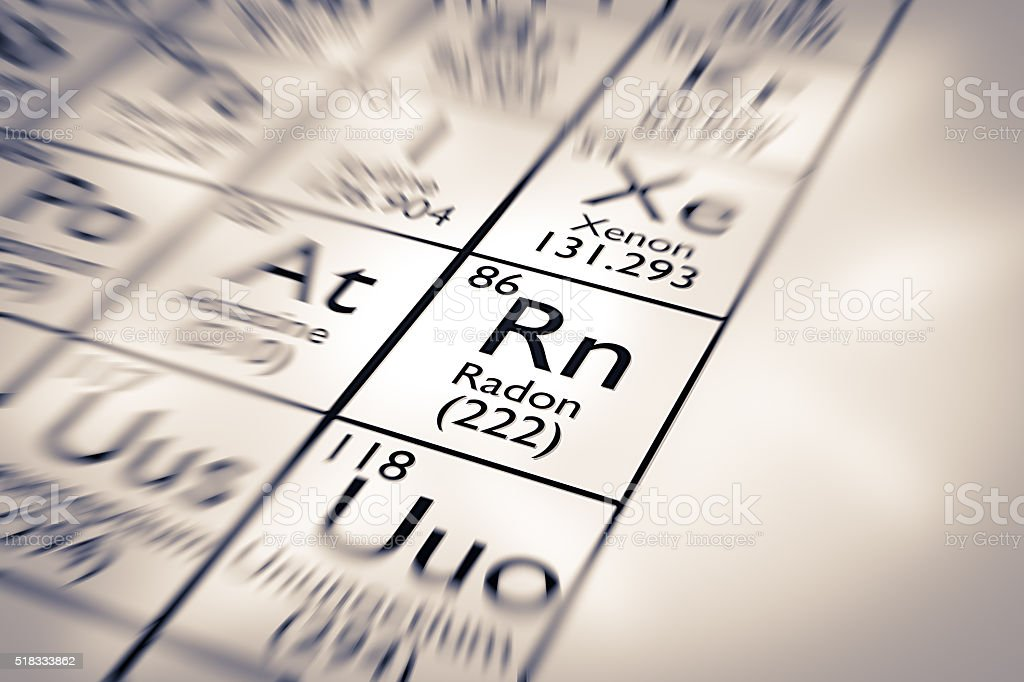 Focus on Radon Chemical Element from the Mendeleev Periodic Table stock photo