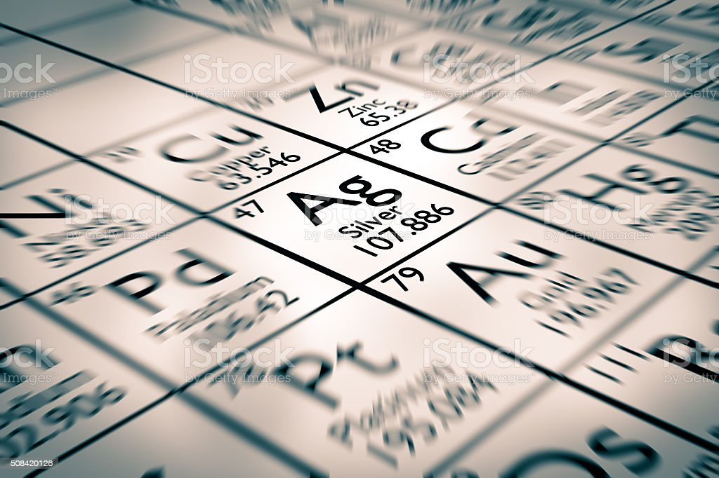Focus on Silver chemical element stock photo