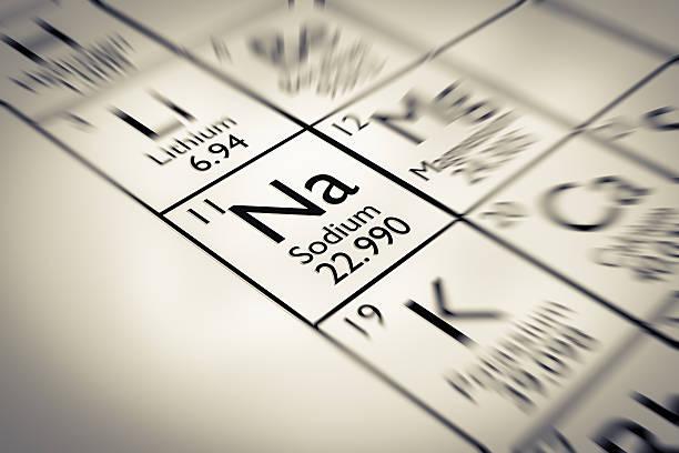 Fokus auf Natrium Chemische Element aus der Mendelejew Periodensystem der Elemente – Foto