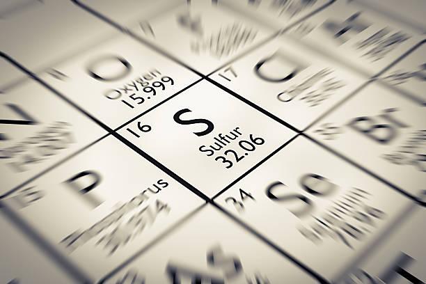 Konzentriere dich auf die Schwefel Chemische Element vom Mendelejew Periodensystem der Elemente – Foto