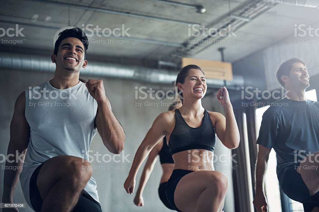Focus on the confidence and joy that working out provides photo libre de droits