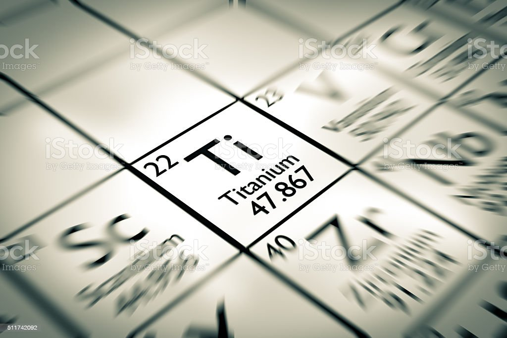 Focus on Titanium Chemical Element from the Mendeleev periodic table stock photo