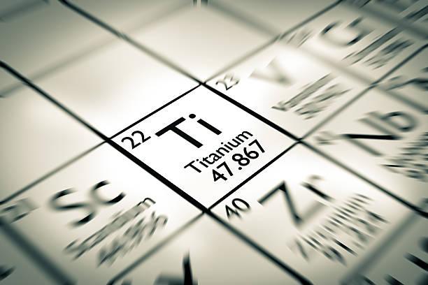 Konzentriere dich auf die Titan Chemische Element vom Mendelejew Periodensystem der Elemente – Foto