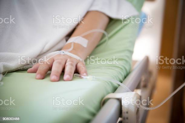 Focus Patients Hand Has Get The Saline Solution Syringe On It Illness And Treatment Health Insurance Plan Stock Photo - Download Image Now
