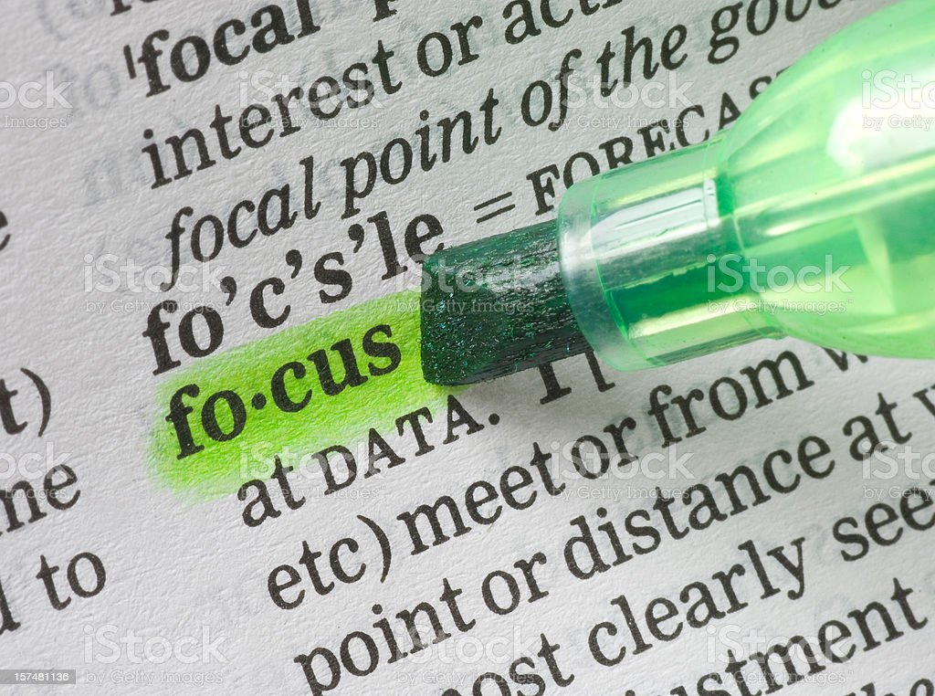 focus tagged in dictionary royalty-free stock photo