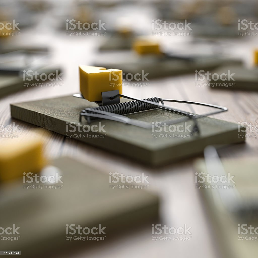 Focused and unfocused mousetraps containing cheese stock photo