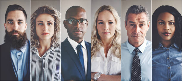 focused group of ethnically diverse professional businessmen and businesswomen - people collage stock photos and pictures