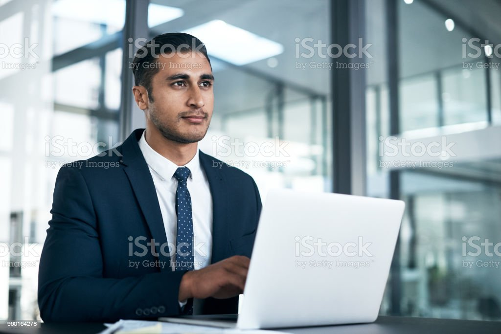 Focused on all his big ambitions stock photo