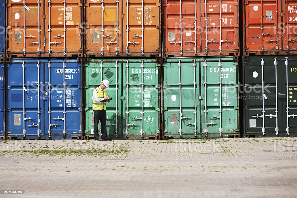 Focused on ensuring customs legislations are met! stock photo