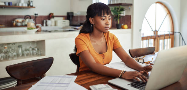 Focused on getting some work done stock photo