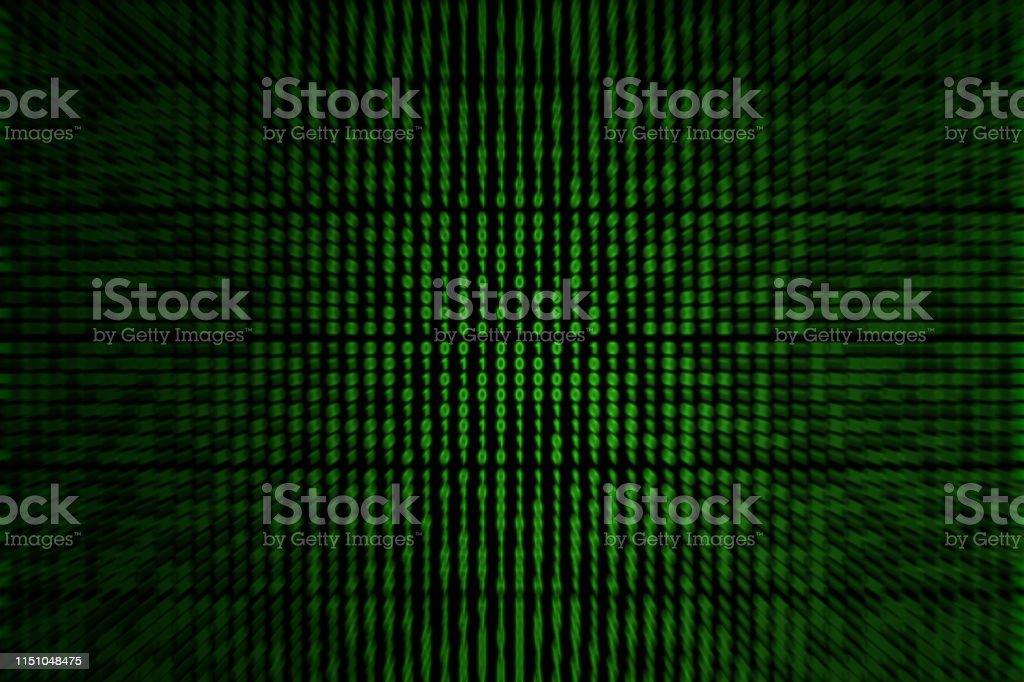 Focused on green binary code stock photo