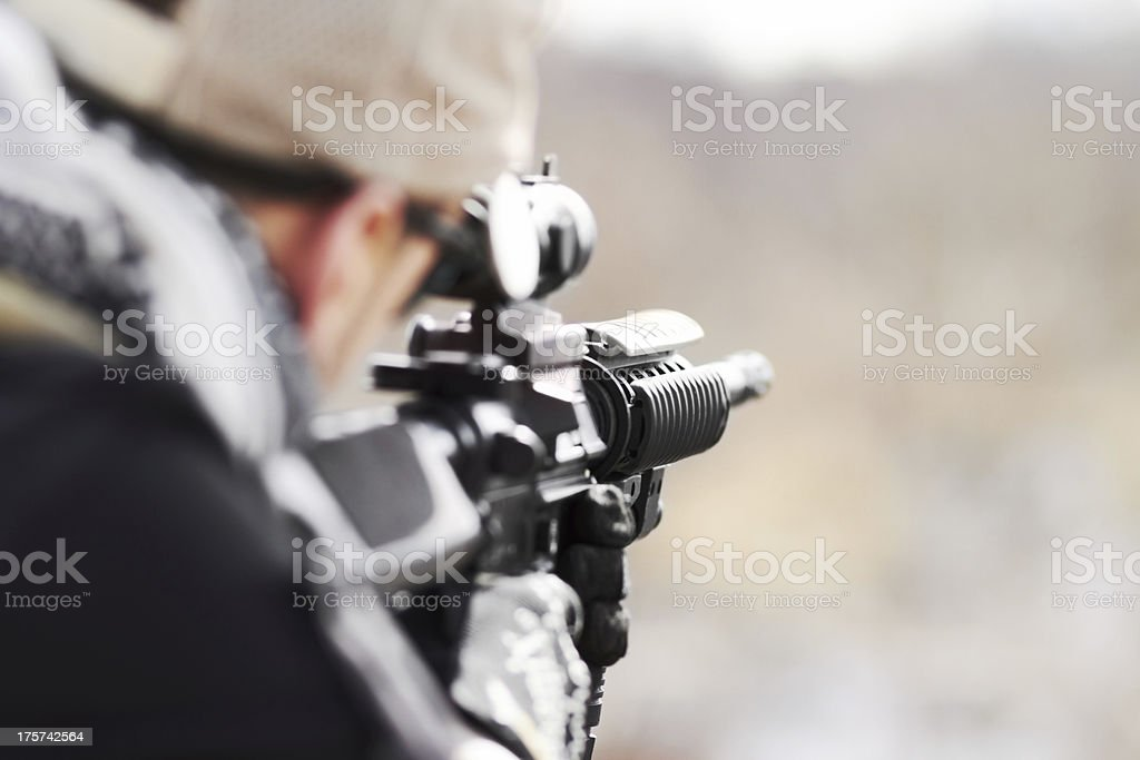 Focused on his target stock photo