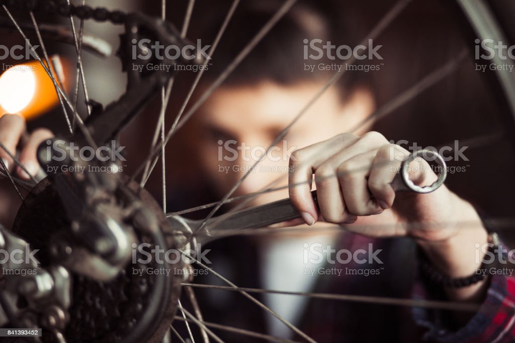Focused On Repairing Bicycle Tire stock photo
