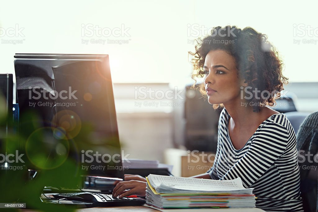 Focused on the task at hand stock photo
