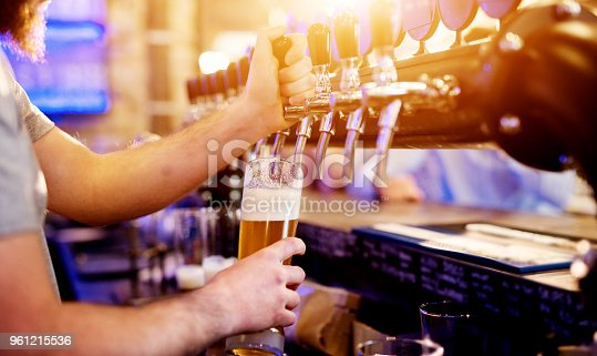 istock Focused professional bartender pouring draft beer in the modern bar. 961215536
