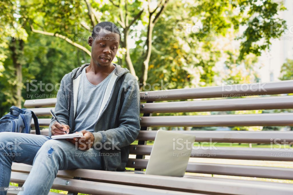 Focused student sitting in park using laptop royalty-free stock photo