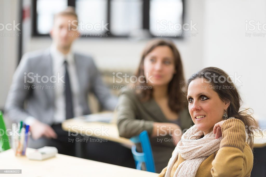 Focused students stock photo