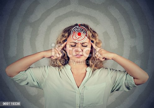 istock Focused woman in maze of mind 969119336