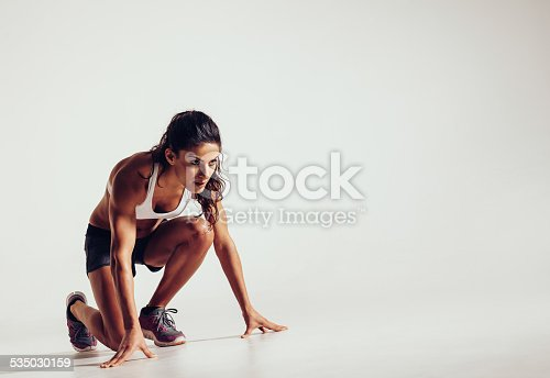 istock Focused woman ready for a run 535030159