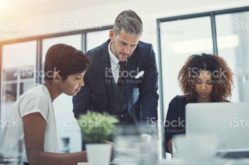 Focusing their energy on driving the business forward royalty-free stock photo
