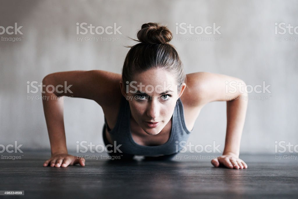 Focussed on increasing her endurance stock photo