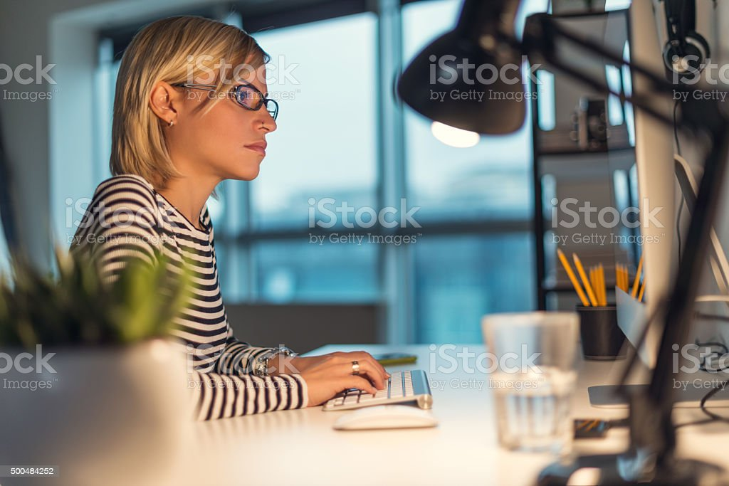 Focussed on the job stock photo