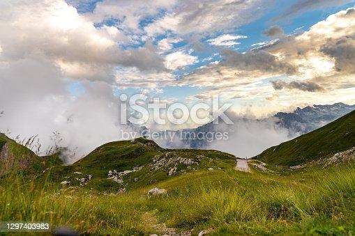 Scenic view of fog against mountain range