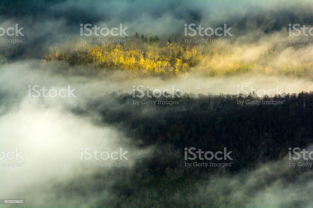 Fog Along the Pisgah National Forest stock photo