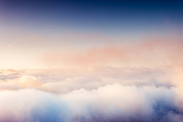 Fog and clouds on a blue sky.