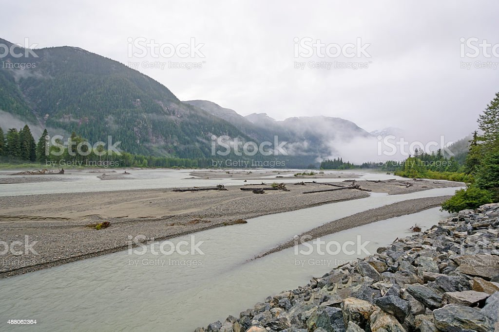Fog and Mist on a Glacial Valley stock photo