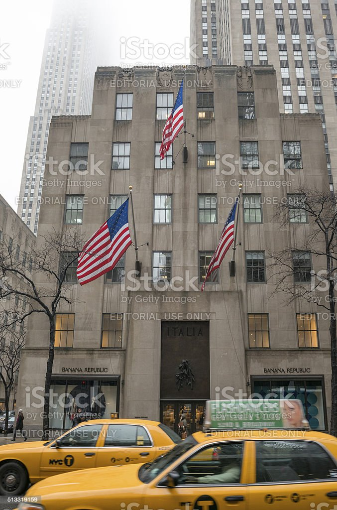 Fog and rain on 5th Avenue in New York City stock photo