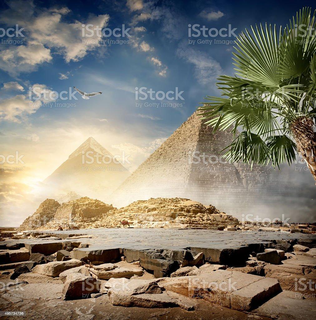 Fog around pyramids stock photo