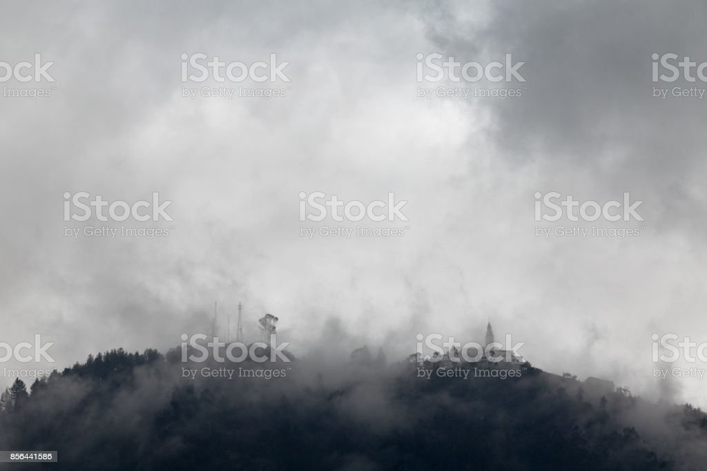 Fog at Monserrate stock photo