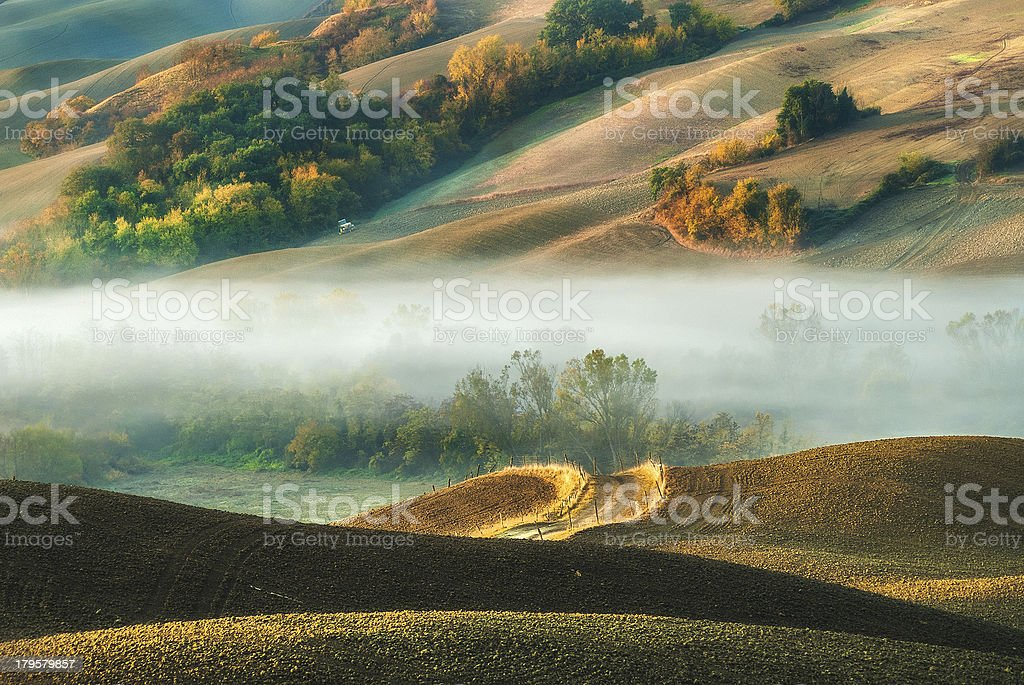 Fog between the hills. royalty-free stock photo