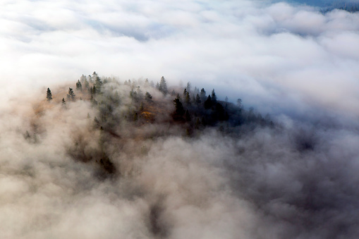 Fog Clouds Summerland British Columbia Okanagan Valley Stock Photo - Download Image Now