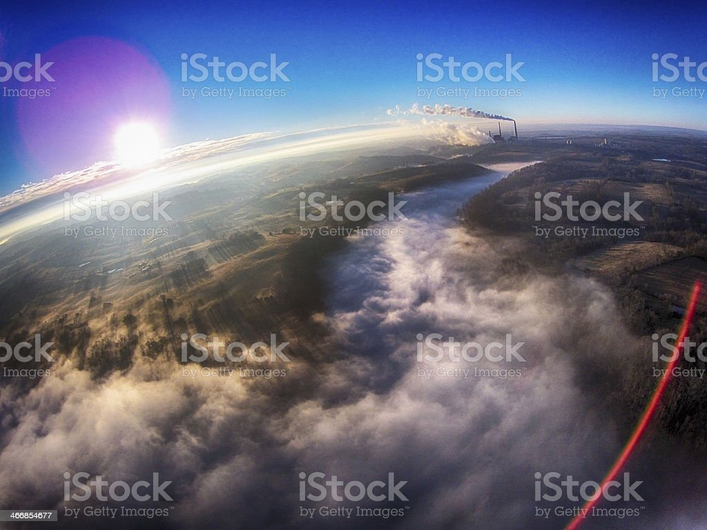 Fog Covered River Valley royalty-free stock photo