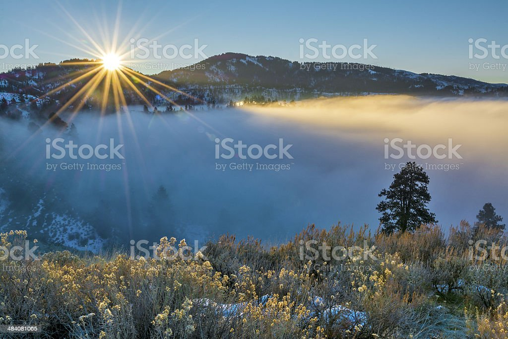 Fog coveres Boise Idaho during an inversion stock photo