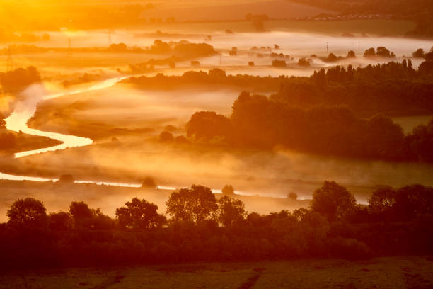 Fog Covering Part of South Downs National Park and Ouse River Fog covering part of South Downs National Park and Ouse River at dawn southeast england stock pictures, royalty-free photos & images