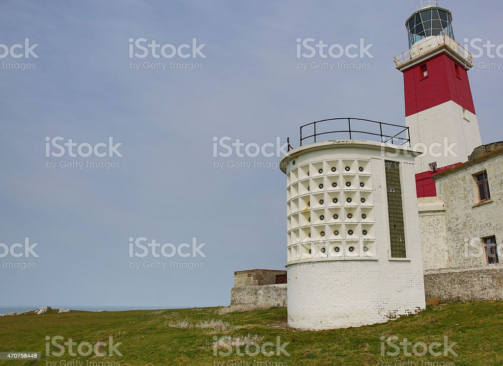 Fog Horn and Lighthouse- warning apparatus for shipping stock photo