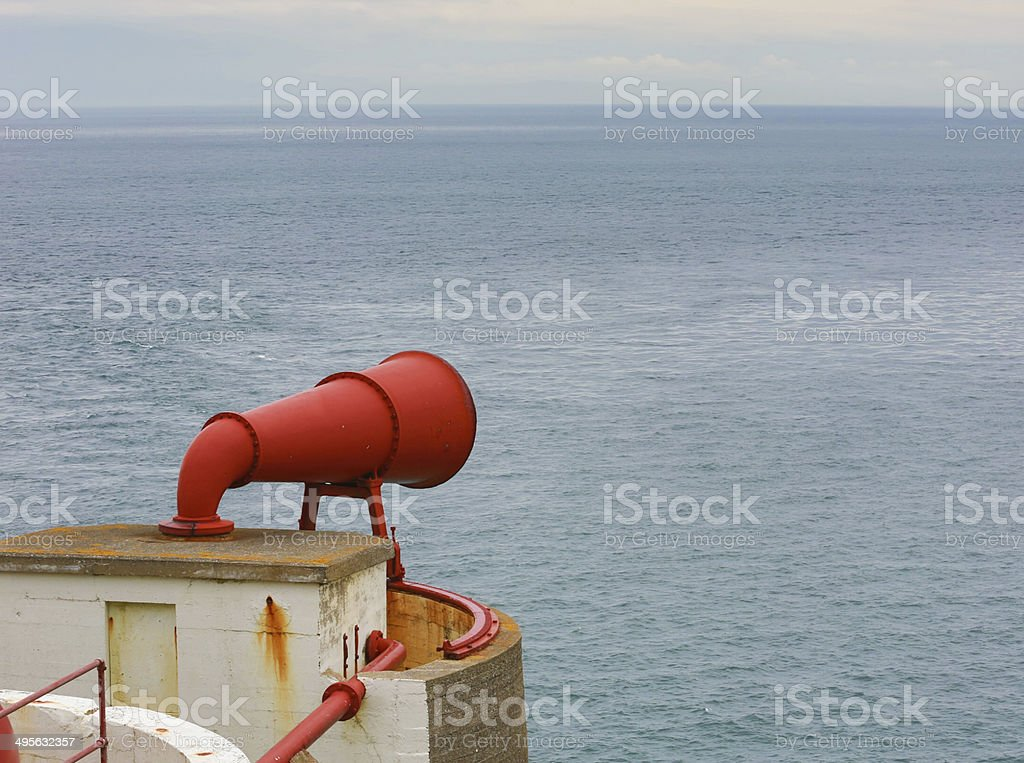 Fog Horn - warning apparatus for shipping in poor visibility stock photo