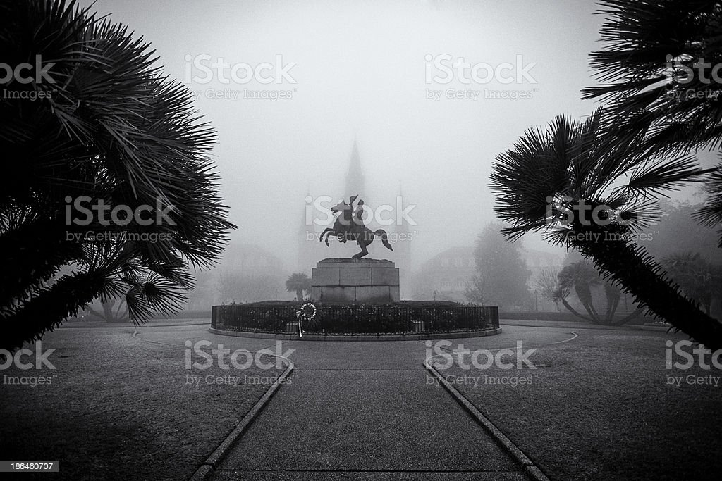 Fog in Jackson Square New Orleans stock photo