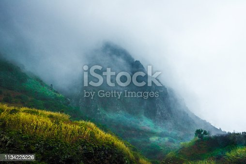 fog in the mountains with small alpine hut - spooky hills