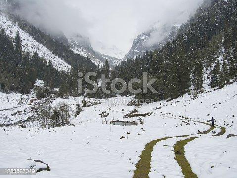 istock Fog in the snowy Untersulzbachtal 1283567049
