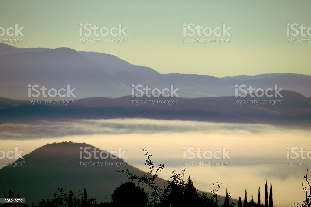 Fog in the Valley stock photo