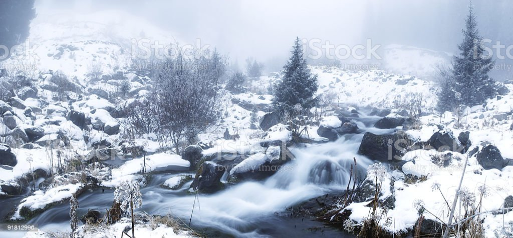 Fog in winter mountains panoramic royalty-free stock photo