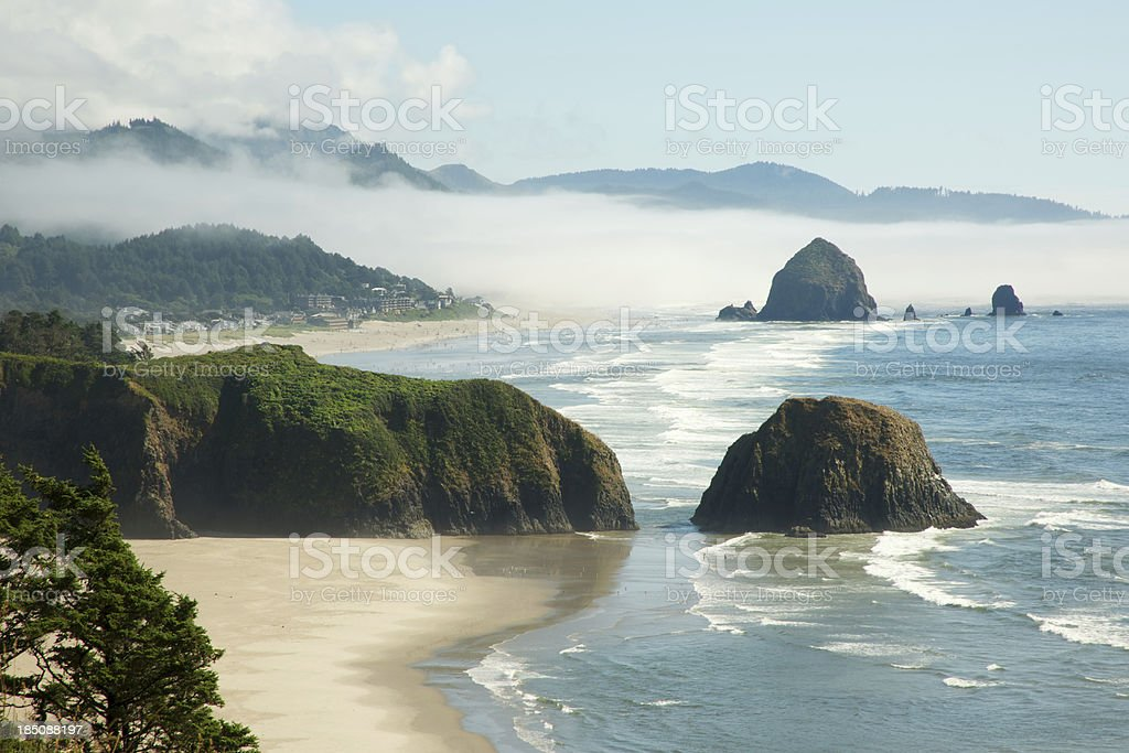 Fog Lifting from Crescent Beach, Oregon Coast stock photo
