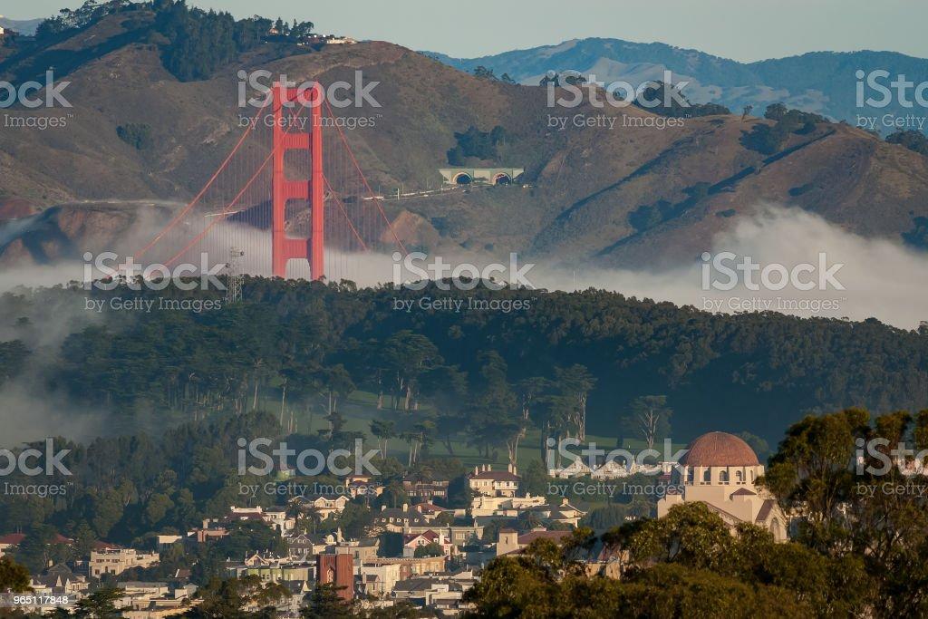 Fog on the Golden Gate bridge royalty-free stock photo